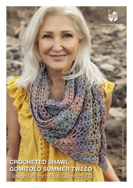Crocheted Shawl in Lana Grossa Gomitolo Summer Tweed - 06 - Downloadable PDF