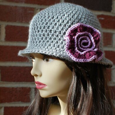 Brimmed Hat with Swirl Flower