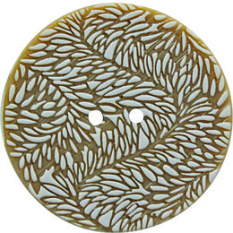 Beige Fern Polyester 44mm 2-Hole Button