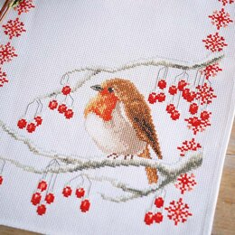 Vervaco Christmas Robin Table Runner Cross Stitch Kit - 32cm x 84cm
