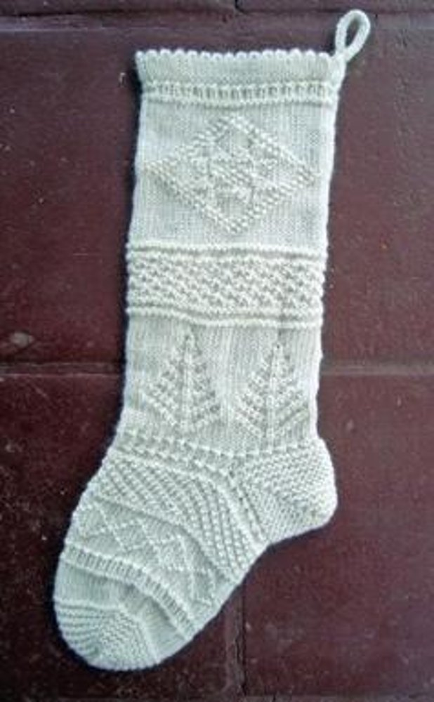 Mix It Up Christmas Stocking Textured Knitting Pattern By