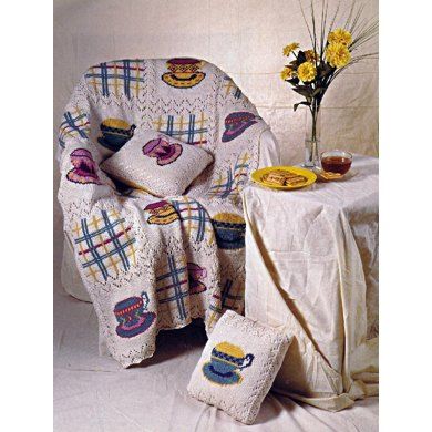 Tea Time Lace Afghan and Pillow