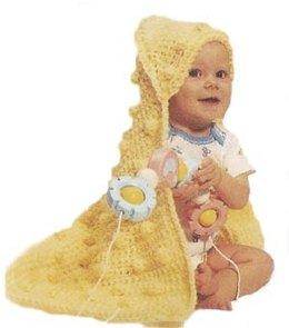 Hooded Bobble Baby Blanket in Lion Brand Jiffy