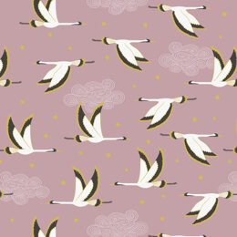 Lewis & Irene Jardin De Lis  - Flying heron on rose pink with gold metallic