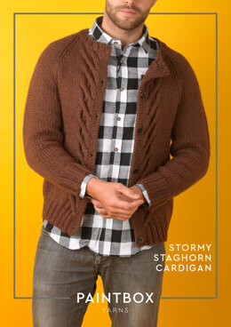 Stormy Staghorn Cardigan in Paintbox Yarns Wool Mix Aran - Downloadable PDF