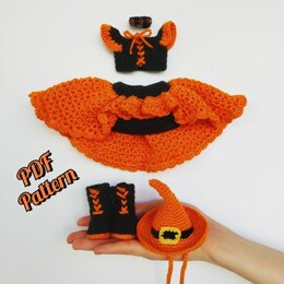 Crochet doll clothes pattern, Halloween outfit for Astrid, Amigurumi doll outfits pattern for a doll 30 cm (11,8 inch) only ENGLISCH