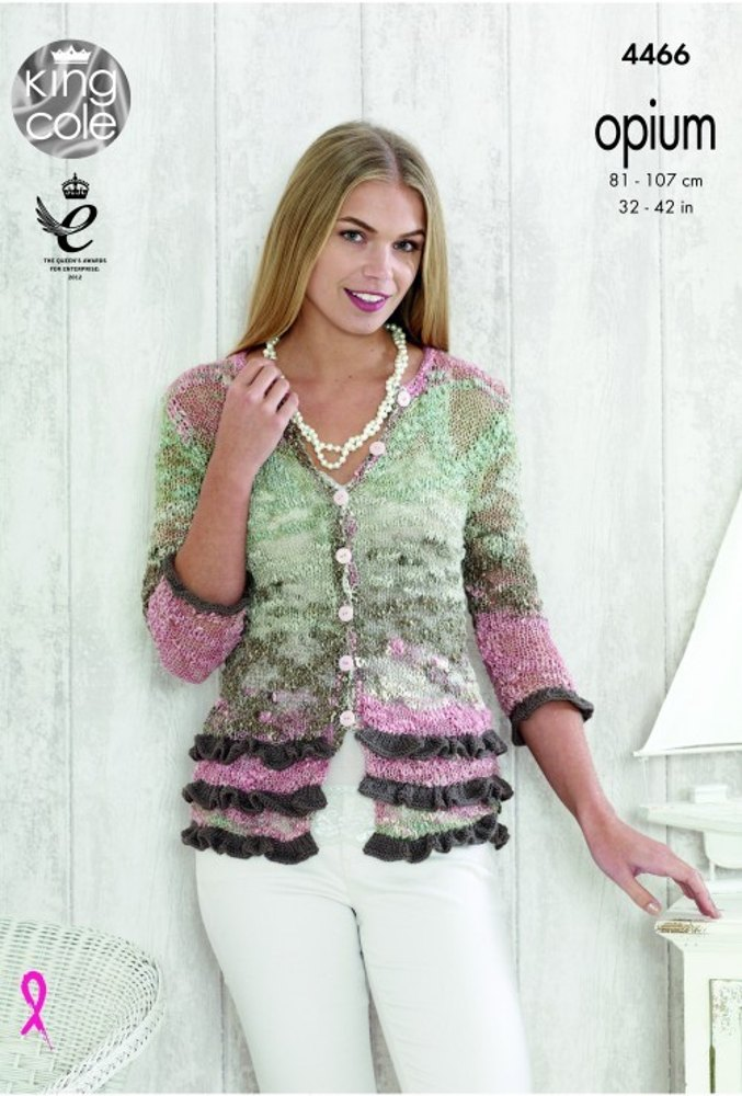 52d0dfe52bd1 Home · Patterns · Cardigans  Top and Cardigan in King Cole Opium Pallette  and Bamboo Cotton DK - 4466 - Leaflet. Zoom