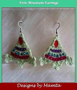 Fern Mountain Crochet Triangle Earrings Pattern Unique Jewelry