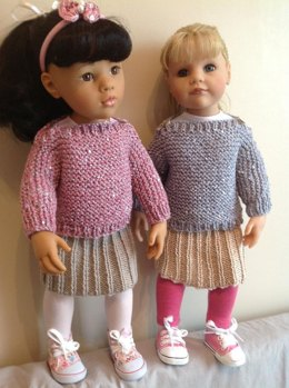 """Easy Knit jumper and skirt. 18"""" doll"""