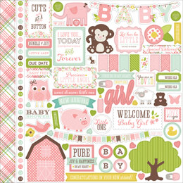 "Echo Park Paper Bundle Of Joy/A New Addition Cardstock Stickers 12""X12"" - Baby Girl, Element"