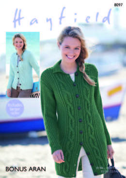 Cardigans in Hayfield Bonus Aran - 8097 - Downloadable PDF