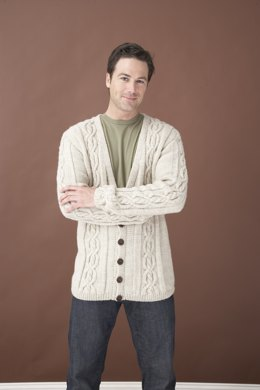 Cardigan in Lion Brand Wool-Ease - 60687AD