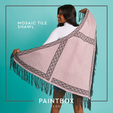 Mosaic Tile Shawl - Free Shawl Knitting Pattern For Women in Paintbox Yarns Cotton 4 Ply by Paintbox Yarns