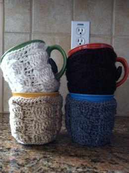 Cables and Bows Coffee cup cozy