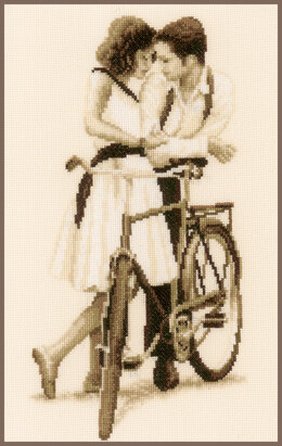 Vervaco Couple with Bicycle Cross Stitch Kit - 20cm x 36cm