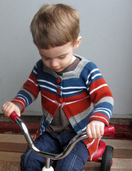 Baby and Toddler Striped Cardigan in Plymouth DK Merino Superwash - F488