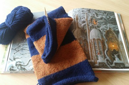 Ravenclaw scarf (book colours) knitting project by Cara P | LoveKnitting