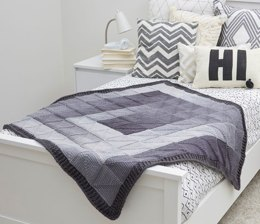 Modern Squares Throw in Red Heart Super Saver Ombre & Economy Solids - LW5877