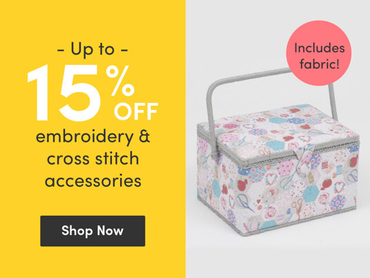 Up to 15 percent off embroidery & cross stitch accessories. Includes fabric!