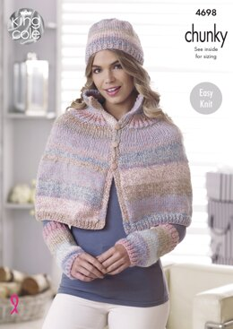 Cape, Shoulder Wrap, Hat & Wrist Warmers in King Cole Cotswold Chunky - 4698 - Downloadable PDF