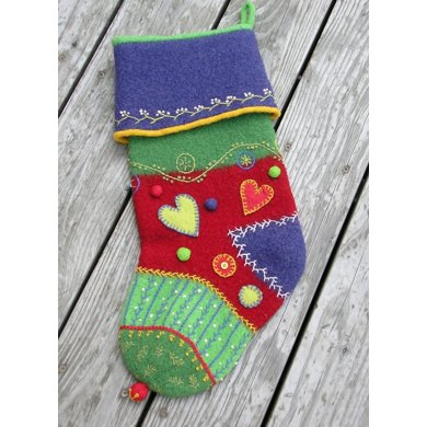 Felted Crazy Quilt Holiday Stocking