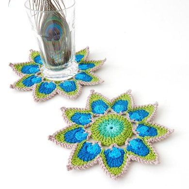 Coaster or Motif Peacock Feather Petals