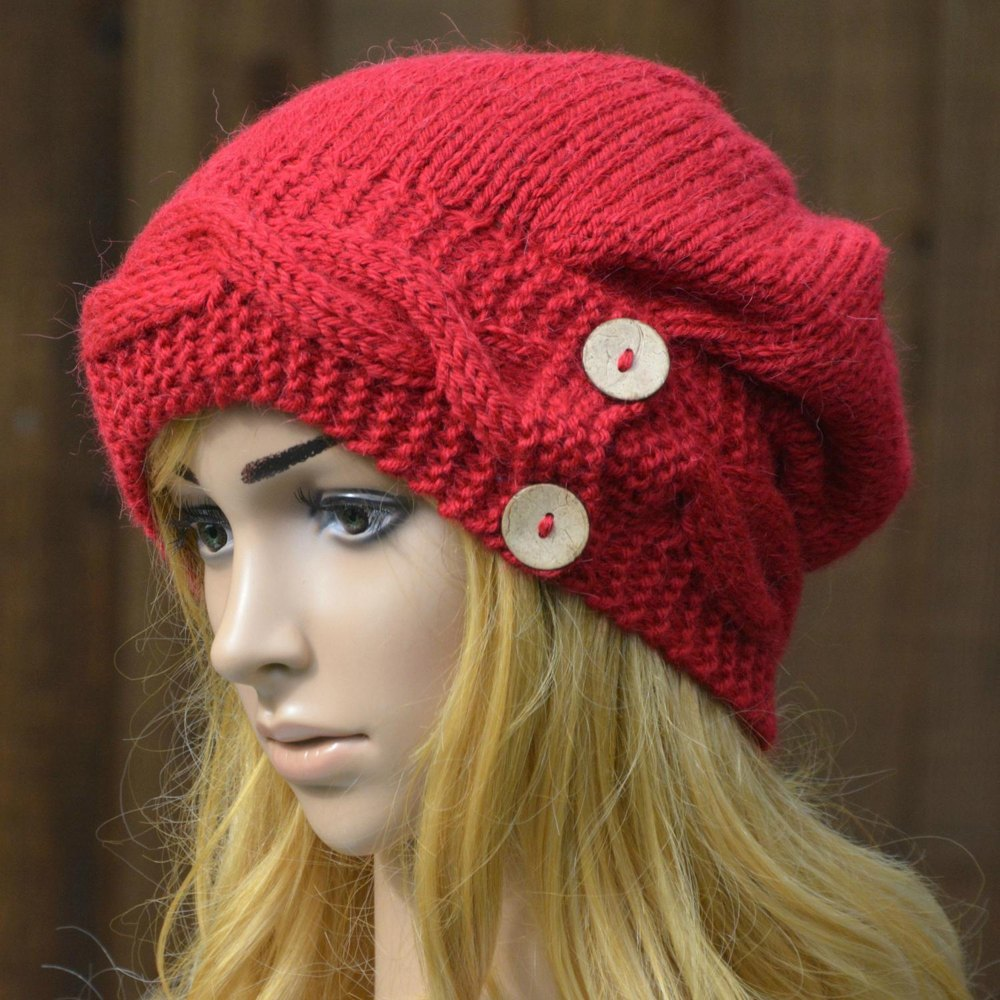Womens Cable Button Band Hat KPWS18 in Stylecraft Alpaca ...