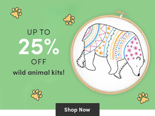 Up to 25 percent off wild animal stitching kits!