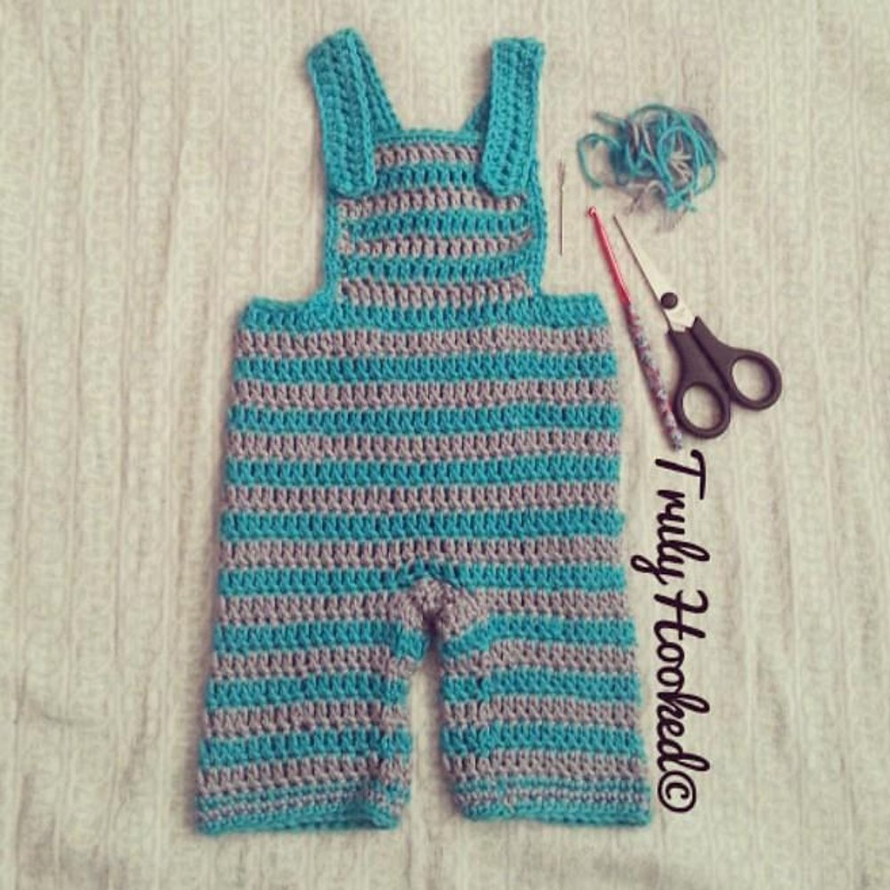 Baby Dungarees Crochet Pattern By Truly Hooked Crochet Patterns