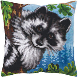 Collection D'Art Little Raccoon Cross Stitch Cushion Kit - 40cm x 40cm