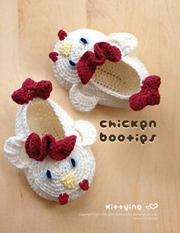 Chicken Rooster Cock Baby Booties by KittyingCrochetPattern
