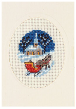 Permin Horse & Sleigh Card Cross Stitch Kit - Multi