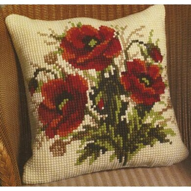 Vervaco Bunch of Poppies Cushion Front Chunky Cross Stitch Kit - 40cm x 40cm
