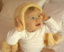 Lamb Ears Hooded Baby Blanket in Plymouth Yarn Daisy - 2499
