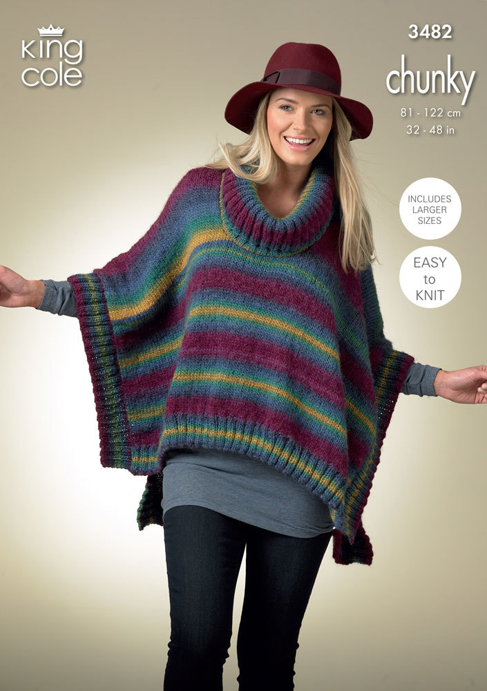 King Cole Campervan Knitting Pattern : Square Poncho and Pointed Poncho in King Cole Riot Chunky - 3482