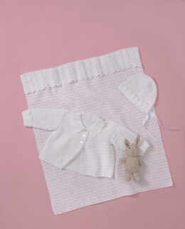 Babies Jacket, Bonnet, and Blanket in King Cole Big Value Baby 3 Ply in King Cole - 5560 - Leaflet