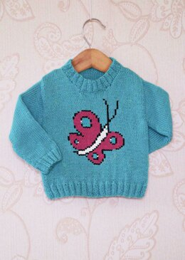 Intarsia - Butterfly Chart - Childrens Sweater