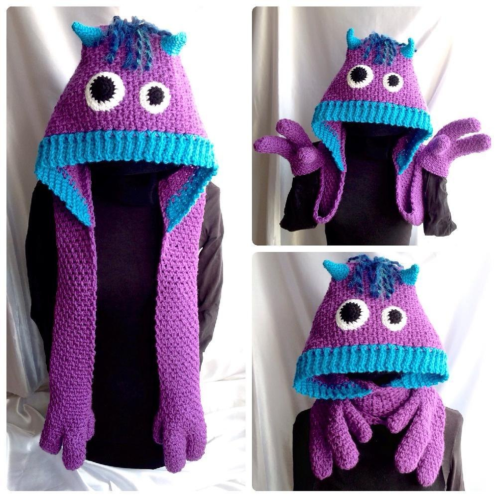Snuggle Monsters Hooded Scarf Crochet Pattern By Hooked On