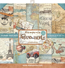 """Stamperia Intl Stamperia Double-Sided Paper Pad 12""""X12"""" 10/Pkg - Around The World, 10 Designs/1 Each"""