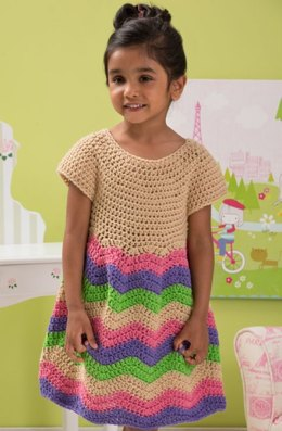 Child's Chevron Dress in Red Heart Super Saver Economy Solids - LW4366