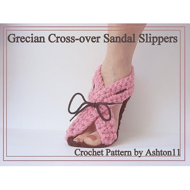 Grecian Cross-Over Sandal Slippers | Crochet Pattern by Ashton11