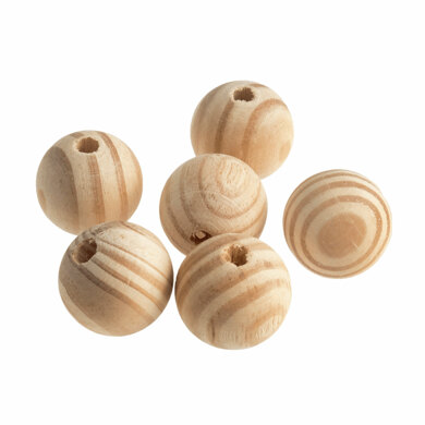 Trimits Beads: Beech Wood: 30mm: Pack of 6