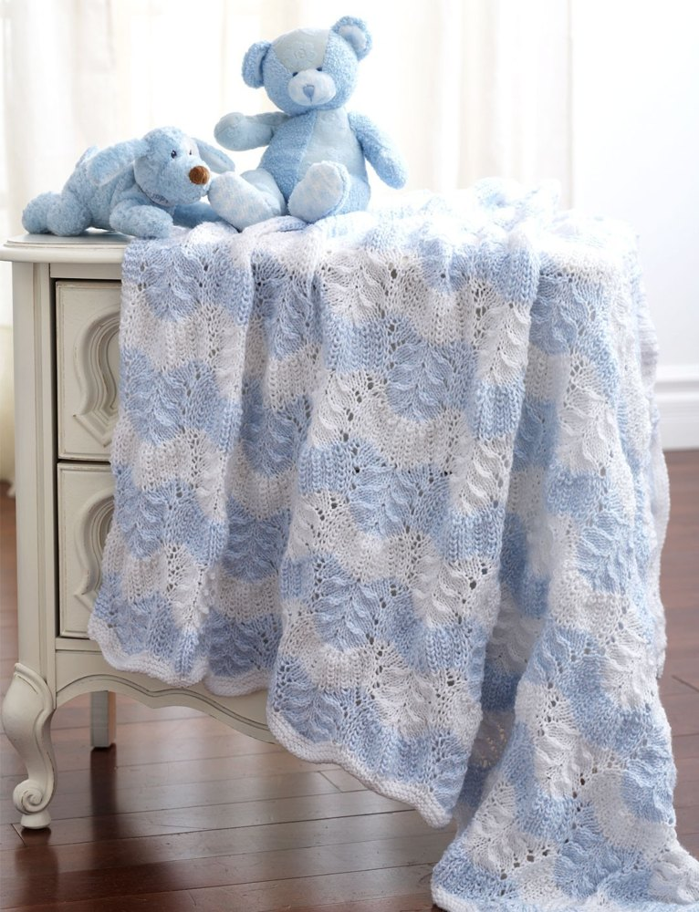 Feather And Fan Blanket To Knit in Bernat Baby Sport | Knitting ...