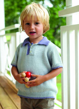 """Polo Shirt"" - Knitting Pattern For Boys in Debbie Bliss Eco Baby - CF04"