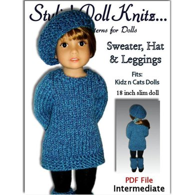 Pattern fits Kidz n Cats Dolls. (Knit) Sweater, Hat, and Leggings, PDF, 451