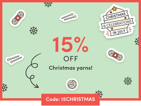 15 percent off Christmas yarns! One day only! Code: 15CHRISTMAS