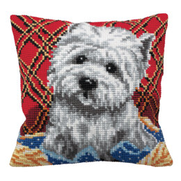 Collection D'Art Westie on Plaid Cushion Front Chunky Cross Stitch Kit
