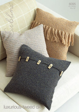 3 Cushion Covers in Sublime Luxurious Tweed DK  - 6095