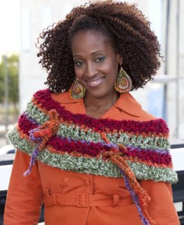Colorful Crazy Cowl in Red Heart Light & Lofty Solids and Multis - LW2401
