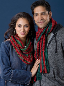 Her Infinity and His Fringed Christmas Cactus Scarves in Caron Simply Soft - Downloadable PDF